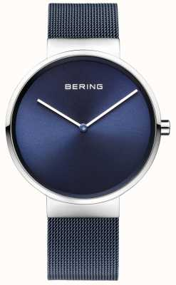 Bering Unisex azul de hierro acero chapado 39mm correa de malla 14539-307