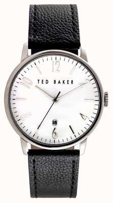 Ted Baker Mens de acero inoxidable caja de cuero blanco correa de cuero TE10030650