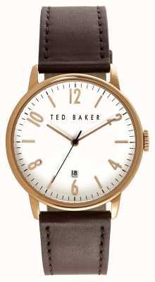 Ted Baker Mens caja de oro rosa dial blanco TE10030651