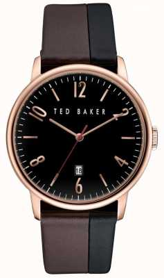Ted Baker Mens caja de oro rosa, correa de cuero de dos tonos TE10030756