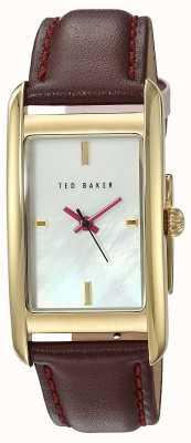 Ted Baker Caja de oro de la mujer dial blanco TE10030753