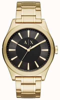 Armani Exchange esfera de color negro de acero inoxidable para hombre dorado AX2328