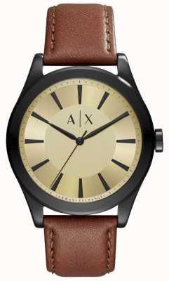 Armani Exchange Para hombre de línea de color de oro de cuero marrón AX2329