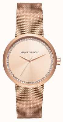 Armani Exchange La mujer se levantaron malla de acero inoxidable de oro AX4503