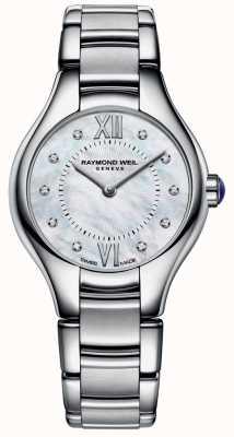 Raymond Weil acero inoxidable de la mujer madre de diamantes 10 de la línea de perlas 5124-ST-00985