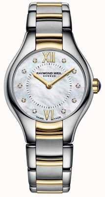Raymond Weil Womans noemia dos tonos madre de diamantes 10 de la línea de perlas 5124-STP-00985