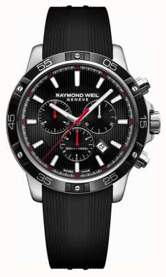 Raymond Weil Mens tango 43mm negro cronógrafo correa de caucho negro 8560-SR1-20001