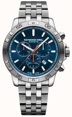 Raymond Weil Mens tango 43mm azul cronógrafo esfera de acero inoxidable 8560-ST2-50001