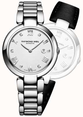 Raymond Weil Womans brillo de acero inoxidable diamante de plata 1600-ST-00618