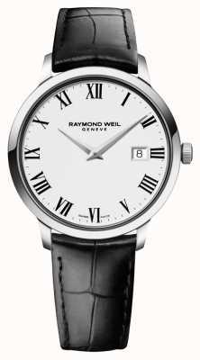 Raymond Weil cuero negro blanco para hombre delgado 5488-STC-00300
