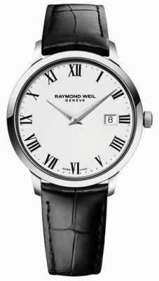 Raymond Weil Correa de cuero negro blanco delgado para hombre 5488-STC-00300