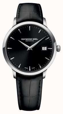 Raymond Weil de cuero negro negro para hombre delgado 5488-STC-20001