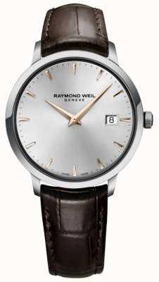 Raymond Weil Correa de cuero marrón plateada fina para hombre 5488-SL5-65001