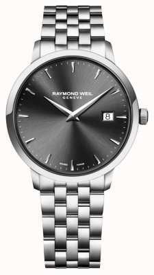 Raymond Weil dial de carbón de leña de acero inoxidable para hombre de movimiento de cuarzo 5488-ST-60001