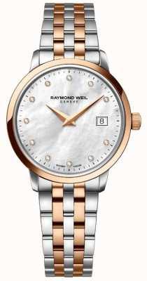Raymond Weil La mujer en dos tonos de rosa de punto de oro y diamantes 5988-SP5-97081