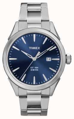 Timex esfera azul plateado 3 mano de mens Chesapeake TW2P96800