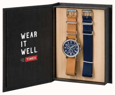 Timex Mens set de regalo de fin de semana cronógrafo TWG012800