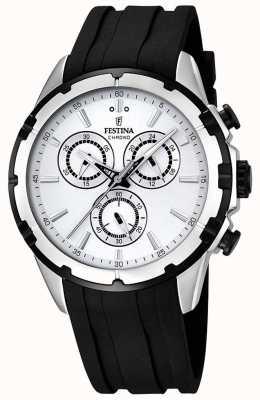 Festina Relojes de esfera blanca correa de caucho negro F16838/1