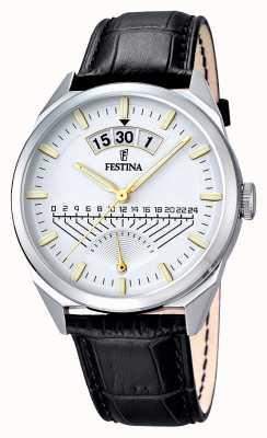 Festina Para hombre de cuero negro reloj de plata de la correa F16873/2