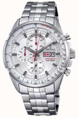 Festina de acero inoxidable reloj de plata de la pulsera para hombre del cronógrafo F6844/1