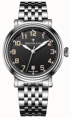 acero inoxidable Dreyfuss esfera de color negro pulsera 1924 DGB00152/19