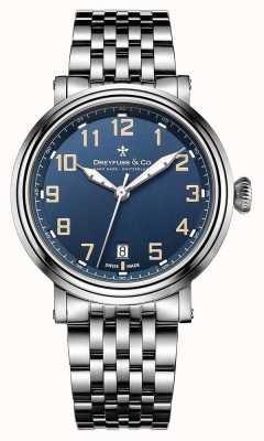 Dreyfuss para hombre de acero 1924 esfera azul brazalete de acero DGB00152/52