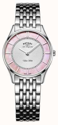 Rotary Las señoras brazalete de acero inoxidable de color rosa madre de la línea de perlas LB90800/07