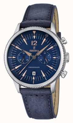 para hombre Festina Chrono azul, cuero azul F16870/2