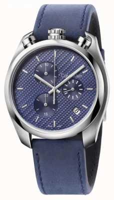 Calvin Klein reloj de control para hombre de cuero azul esfera azul K6Z371VN