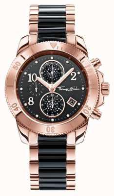 Thomas Sabo Para mujer crono glamour negro / oro rosa WA0223-268-203-40