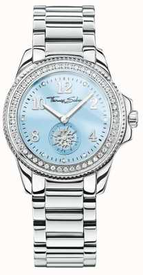 Thomas Sabo Womans glam esfera azul elegante de acero inoxidable WA0254-201-209-33