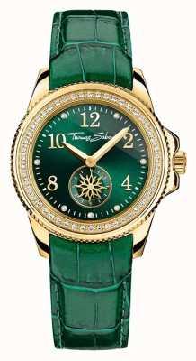 Thomas Sabo Damas glam de línea verde de cuero verde elegante WA0255-276-211-33