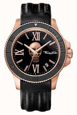 Thomas Sabo Para hombre icono rebelde dial de la calavera de cuero negro WA0279-213-203-44