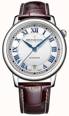 Dreyfuss Reloj de acero de 1.925 hombres con la correa de cuero marrón DGS00148/01