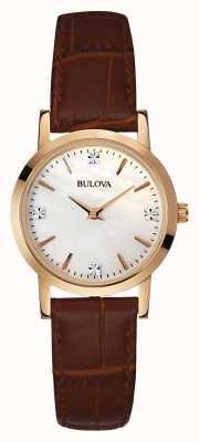 Bulova Las señoras reloj de oro correa de cuero marrón 97S105