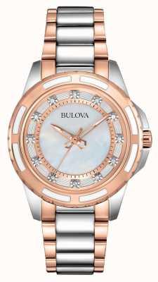 Bulova damas de acero inoxidable / oro rosa 98S134