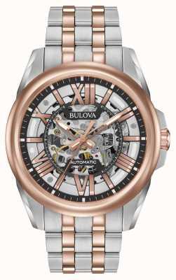 Bulova Para hombre de acero inoxidable automático / oro rosa 98A166