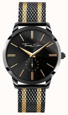 Thomas Sabo Para hombre de espíritu rebelde cronógrafo negro oro amarillo WA0288-284-203