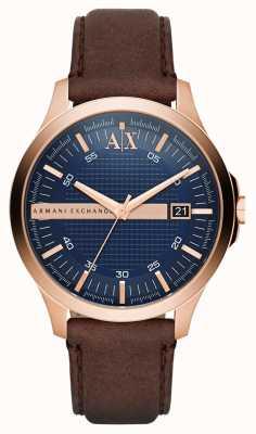 Armani Exchange Para hombre de la correa de cuero marrón rosa carcasa de oro AX2172