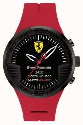 Scuderia Ferrari Alarma del reloj para hombre negro de goma roja 0830374