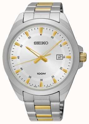 Seiko Para hombre reloj de plata de acero inoxidable de dos tonos SUR211P1