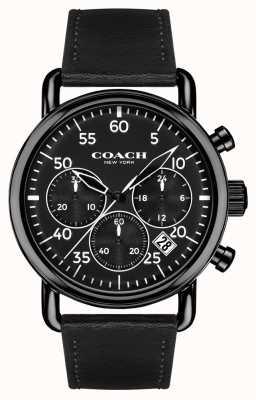 Coach Mens delancey cronógrafo esfera de color negro correa de cuero negro 14602107