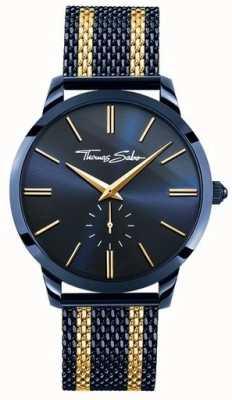 Thomas Sabo Para hombre de espíritu rebelde de acero azul franjas de oro amarillo WA0283-286-209-42