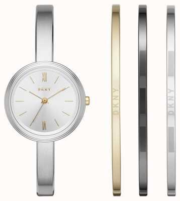 DKNY Reloj de plata para mujer 3 juego de regalo de brazalete NY2577