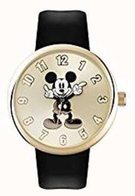 Disney Adult Mickey mouse caja de oro de la correa negro MK1443