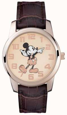 Disney Adult Correa marrón Mickey Mouse oro rosa correa MK1459