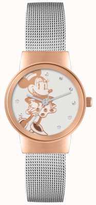 Disney Adult Minnie mouse caja de oro rosa de malla de plata MN1312