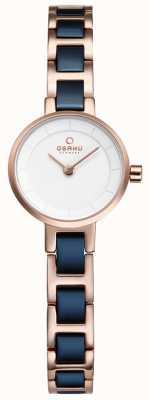 Obaku Womans azul marino y rosa reloj del metal del oro V198LXVISL