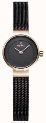 Obaku Womans malla negro y el reloj del metal del oro V199LXVNMN