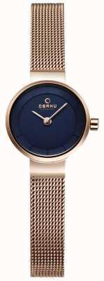 Obaku Womans malla de oro y un reloj de metal azul marino V199LXVLMV